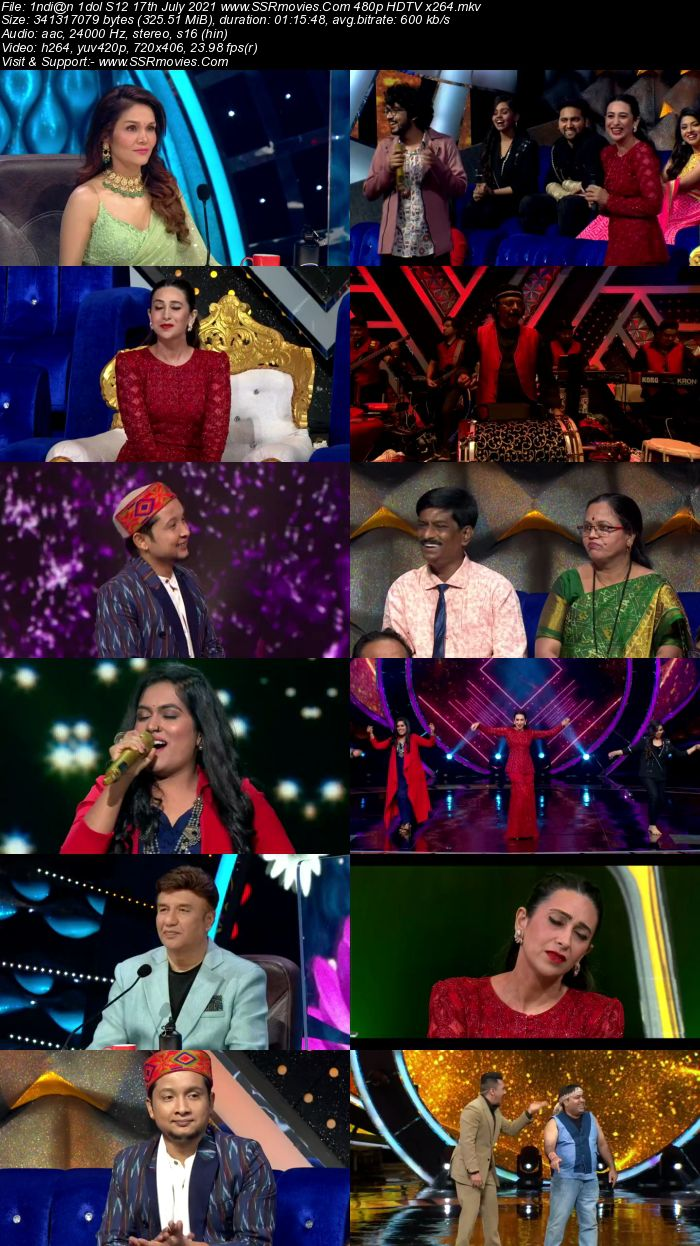 Indian Idol S12 17th July 2021 480p 720p HDTV x264 300MB Download