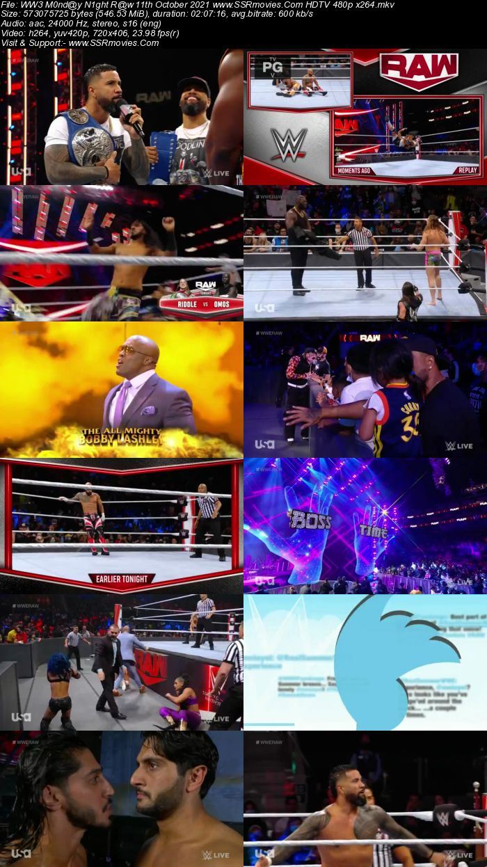 WWE Monday Night Raw 11th October 2021 HDTV 480p 720p Download
